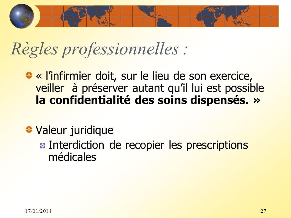 17/01/201427 Règles professionnelles : « linfirmier doit, sur le lieu de son exercice, veiller à préserver autant quil lui est possible la confidentia