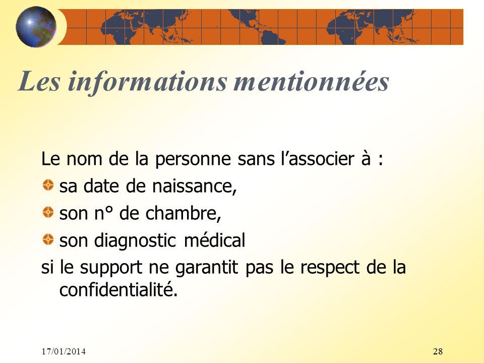17/01/201428 Les informations mentionnées Le nom de la personne sans lassocier à : sa date de naissance, son n° de chambre, son diagnostic médical si
