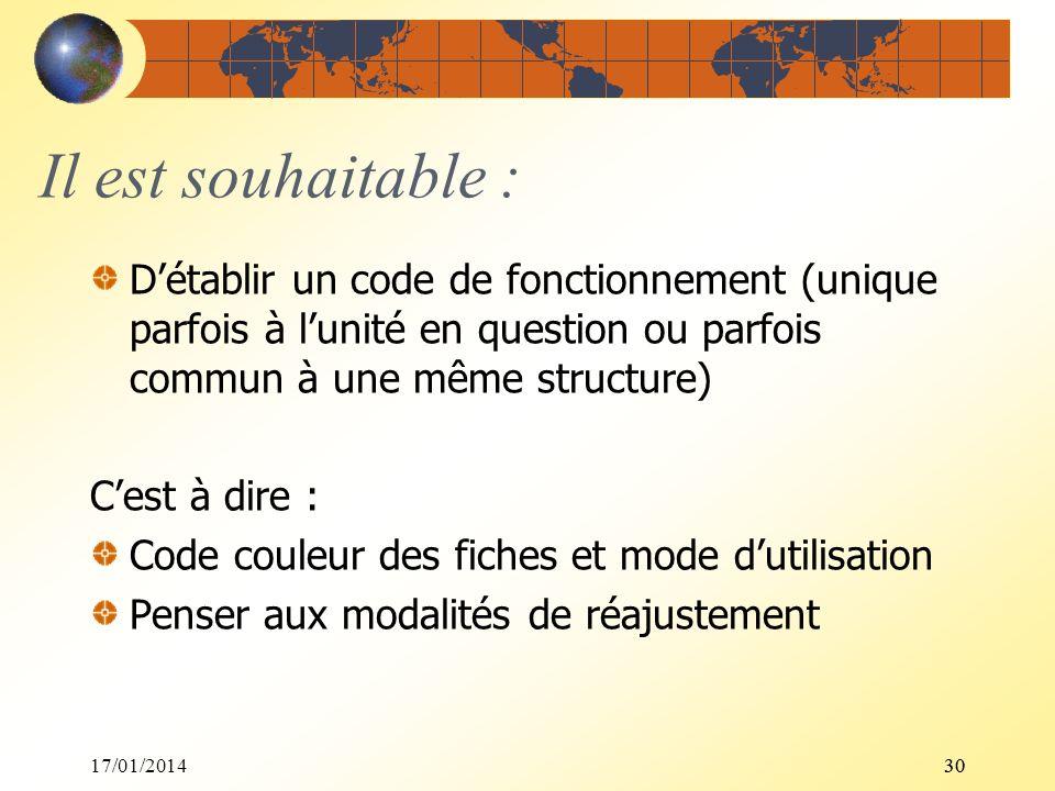 17/01/201430 Il est souhaitable : Détablir un code de fonctionnement (unique parfois à lunité en question ou parfois commun à une même structure) Cest