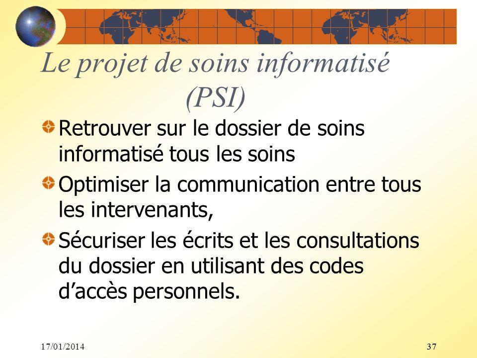 17/01/201437 Le projet de soins informatisé (PSI) Retrouver sur le dossier de soins informatisé tous les soins Optimiser la communication entre tous l