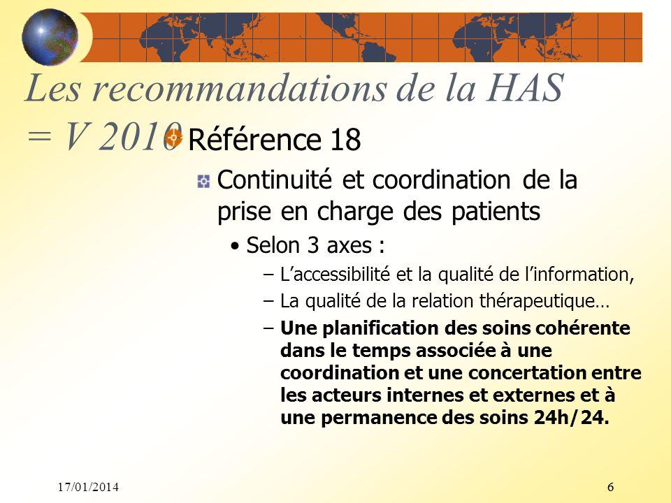17/01/201466 Les recommandations de la HAS = V 2010 Référence 18 Continuité et coordination de la prise en charge des patients Selon 3 axes : –Laccess