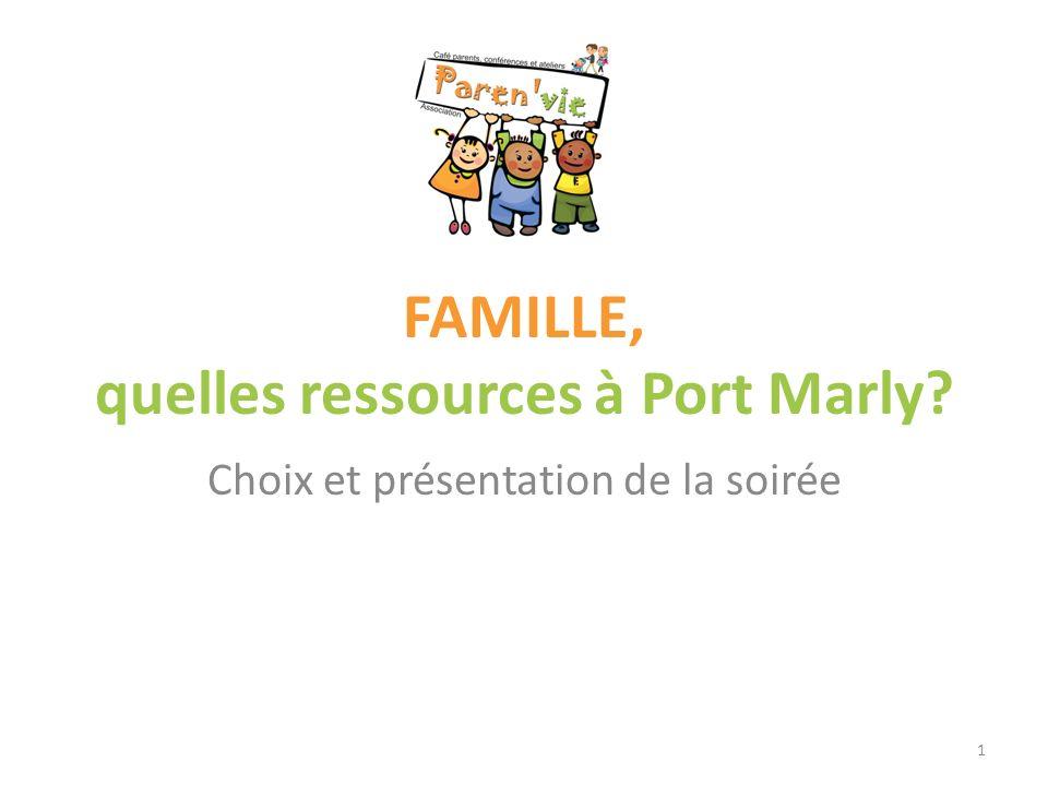 FAMILLE, quelles ressources à Port Marly? Choix et présentation de la soirée 1