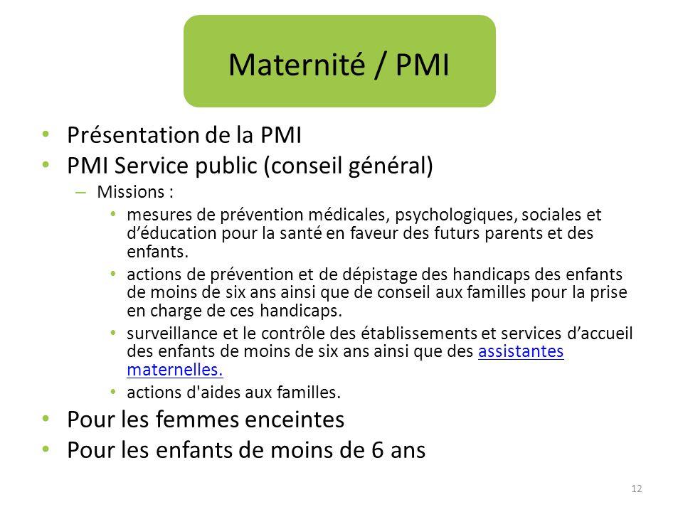 Présentation de la PMI PMI Service public (conseil général) – Missions : mesures de prévention médicales, psychologiques, sociales et déducation pour