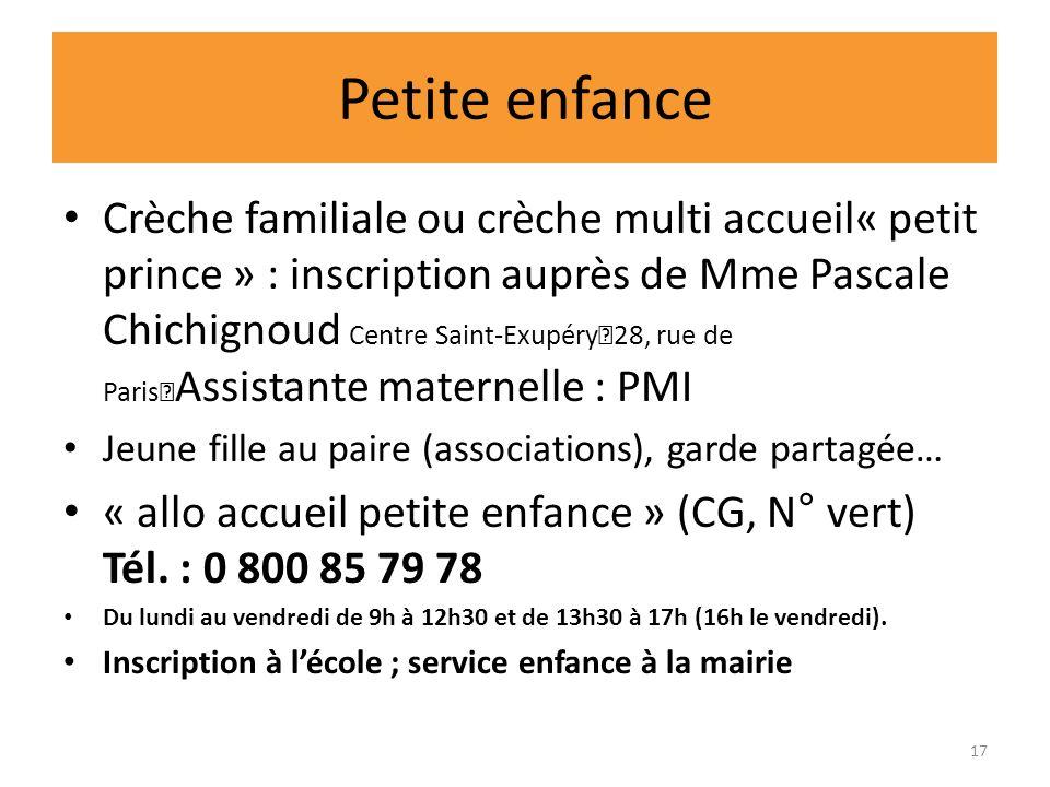 Petite enfance Crèche familiale ou crèche multi accueil« petit prince » : inscription auprès de Mme Pascale Chichignoud Centre Saint-Exupéry 28, rue d