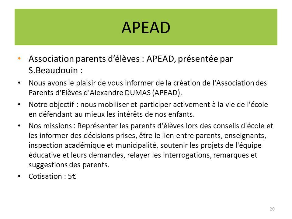 APEAD Association parents délèves : APEAD, présentée par S.Beaudouin : Nous avons le plaisir de vous informer de la création de l'Association des Pare
