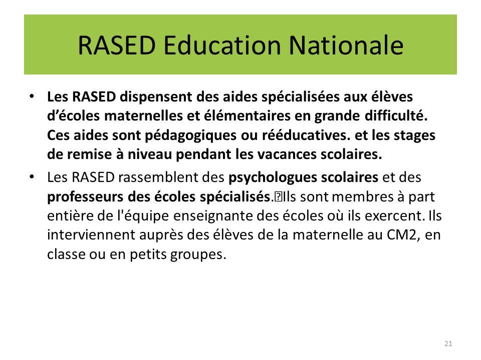 RASED Education Nationale Les RASED dispensent des aides spécialisées aux élèves décoles maternelles et élémentaires en grande difficulté. Ces aides s