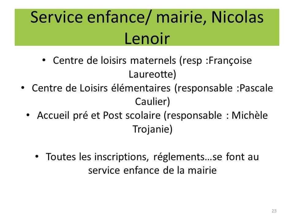 Service enfance/ mairie, Nicolas Lenoir Centre de loisirs maternels (resp :Françoise Laureotte) Centre de Loisirs élémentaires (responsable :Pascale C