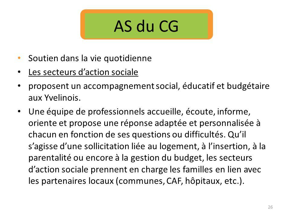 Soutien dans la vie quotidienne Les secteurs daction sociale proposent un accompagnement social, éducatif et budgétaire aux Yvelinois. Une équipe de p