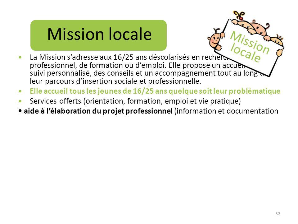 Mission locale La Mission sadresse aux 16/25 ans déscolarisés en recherche de projet professionnel, de formation ou demploi. Elle propose un accueil e