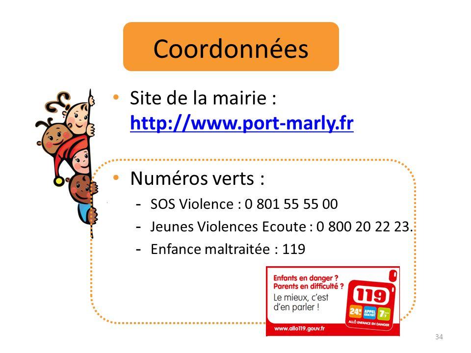 Coordonnées Site de la mairie : http://www.port-marly.fr http://www.port-marly.fr Numéros verts : - SOS Violence : 0 801 55 55 00 - Jeunes Violences E