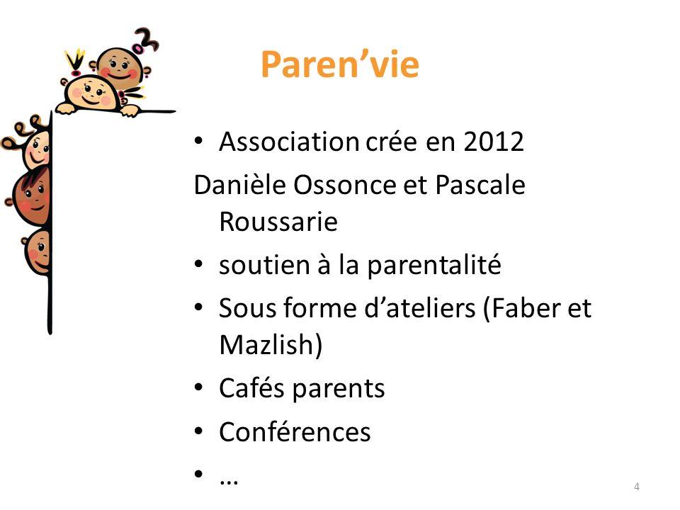 Parenvie Association crée en 2012 Danièle Ossonce et Pascale Roussarie soutien à la parentalité Sous forme dateliers (Faber et Mazlish) Cafés parents