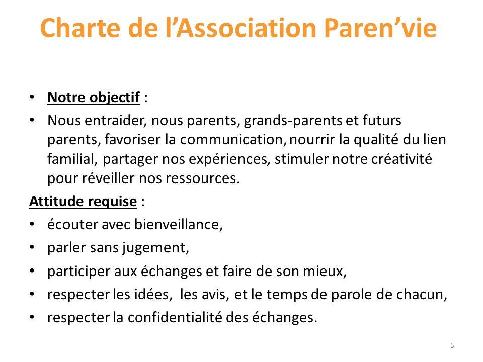Charte de lAssociation Parenvie Notre objectif : Nous entraider, nous parents, grands-parents et futurs parents, favoriser la communication, nourrir l