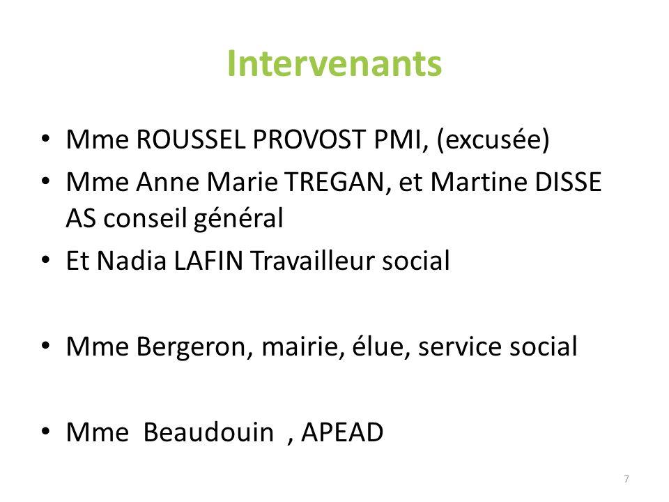 Intervenants Mme ROUSSEL PROVOST PMI, (excusée) Mme Anne Marie TREGAN, et Martine DISSE AS conseil général Et Nadia LAFIN Travailleur social Mme Berge