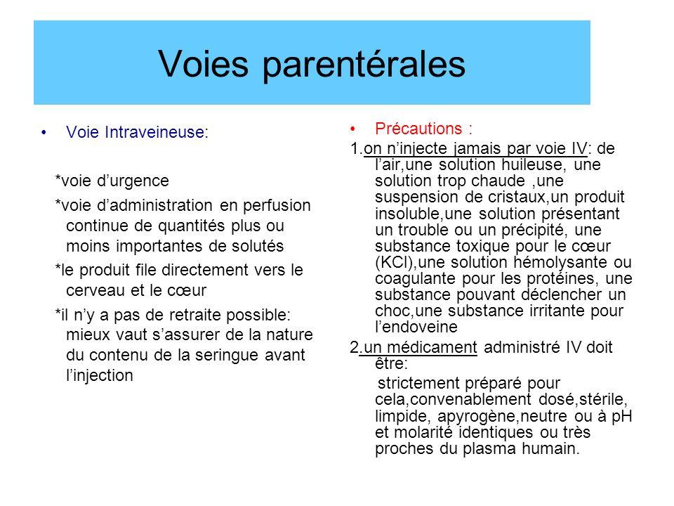Voies parentérales Voie Intraveineuse: *voie durgence *voie dadministration en perfusion continue de quantités plus ou moins importantes de solutés *l