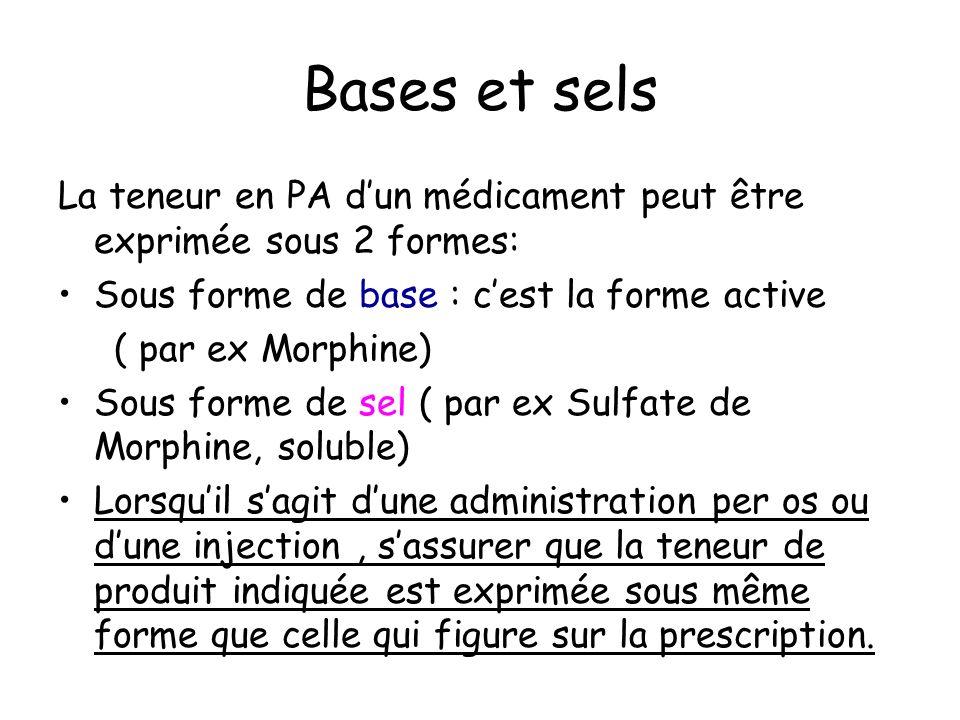 Bases et sels La teneur en PA dun médicament peut être exprimée sous 2 formes: Sous forme de base : cest la forme active ( par ex Morphine) Sous forme