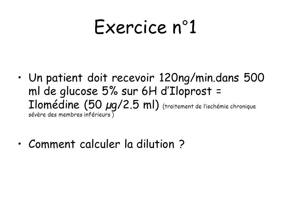 Exercice n°1 Un patient doit recevoir 120ng/min.dans 500 ml de glucose 5% sur 6H dIloprost = Ilomédine (50 µg/2.5 ml) ( traitement de lischémie chroni