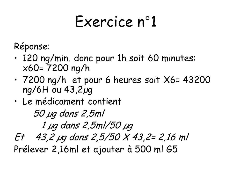 Exercice n°1 Réponse : 120 ng/min. donc pour 1h soit 60 minutes: x60= 7200 ng/h 7200 ng/h et pour 6 heures soit X6= 43200 ng/6H ou 43,2µg Le médicamen