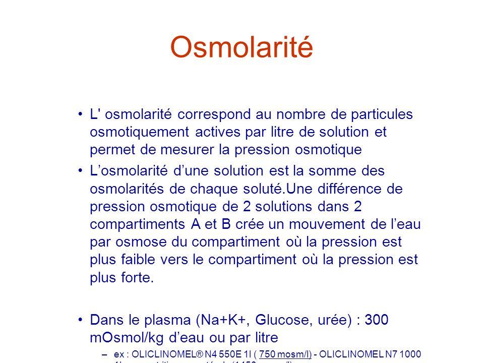 Osmolarité L' osmolarité correspond au nombre de particules osmotiquement actives par litre de solution et permet de mesurer la pression osmotique Los