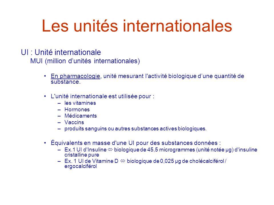 Les unités internationales UI : Unité internationale MUI (million dunités internationales) En pharmacologie, unité mesurant l'activité biologique dune