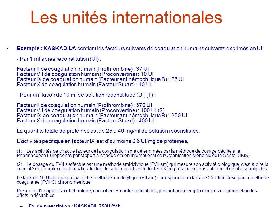 Les unités internationales Exemple : KASKADIL® contient les facteurs suivants de coagulation humains suivants exprimés en UI : - Par 1 ml après recons