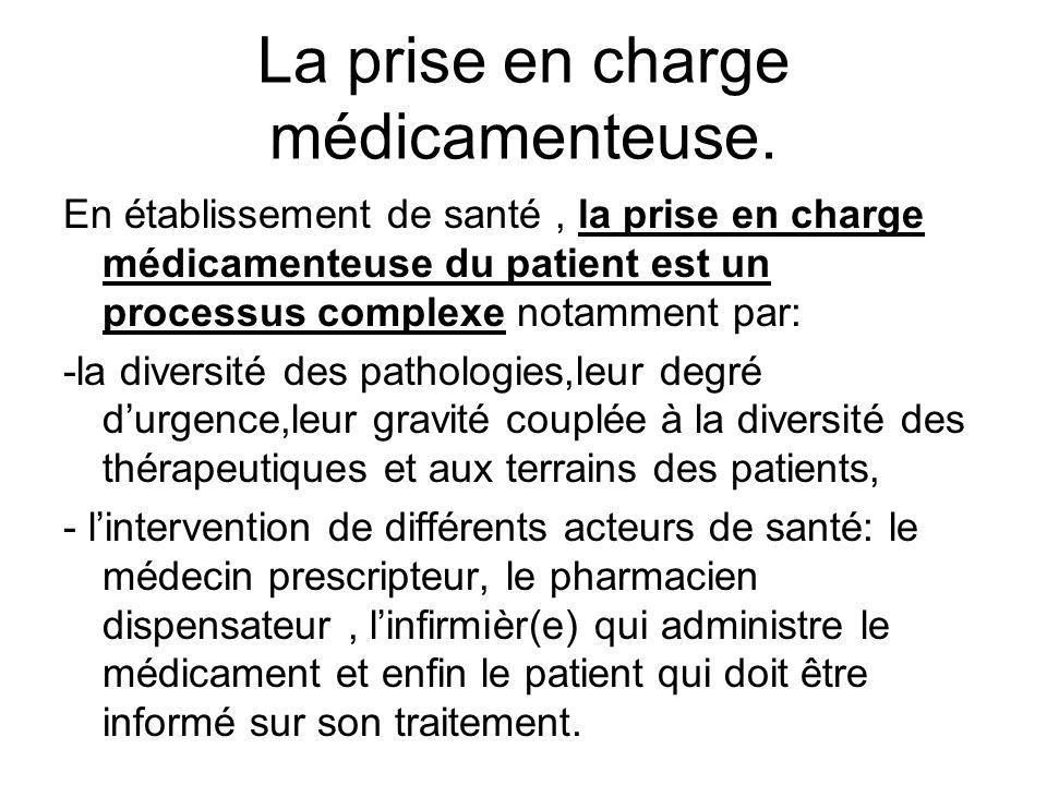 La prise en charge médicamenteuse. En établissement de santé, la prise en charge médicamenteuse du patient est un processus complexe notamment par: -l