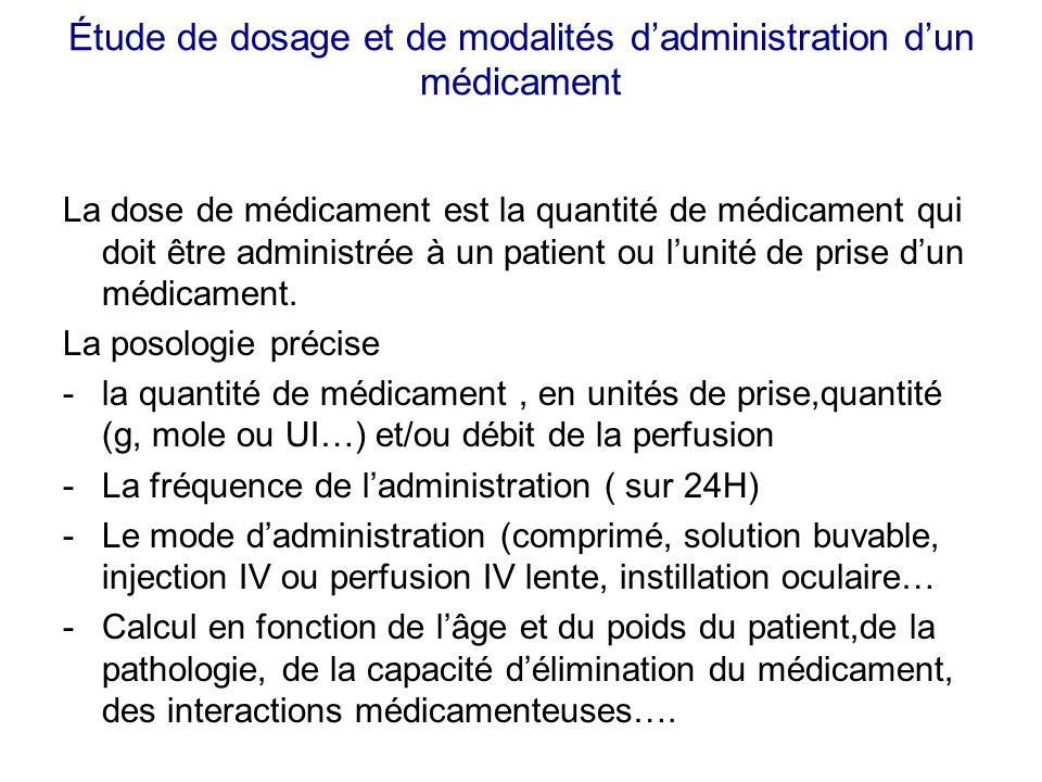 Étude de dosage et de modalités dadministration dun médicament La dose de médicament est la quantité de médicament qui doit être administrée à un pati