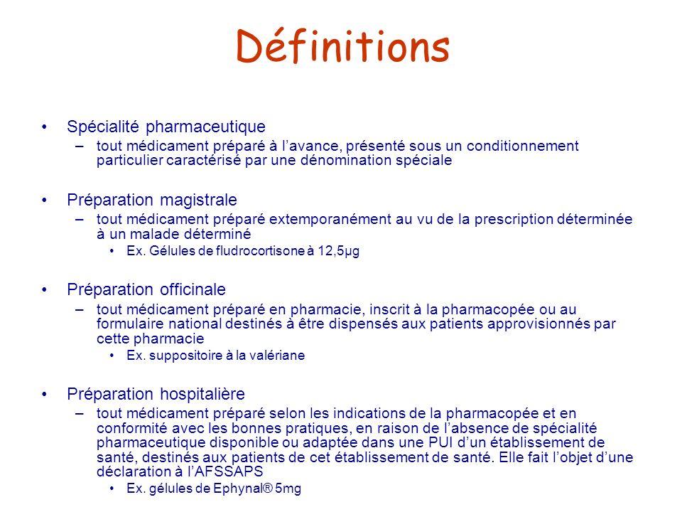 Définitions Spécialité pharmaceutique –tout médicament préparé à lavance, présenté sous un conditionnement particulier caractérisé par une dénominatio