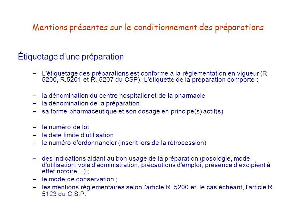 Mentions présentes sur le conditionnement des préparations Étiquetage dune préparation –L'étiquetage des préparations est conforme à la réglementation