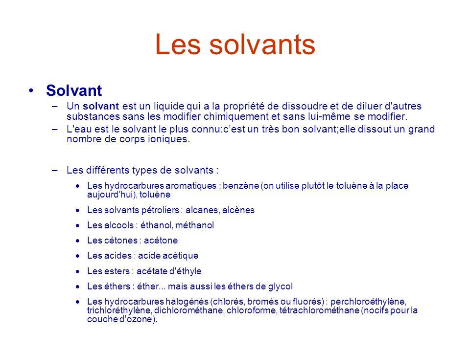 Les solvants Solvant –Un solvant est un liquide qui a la propriété de dissoudre et de diluer d'autres substances sans les modifier chimiquement et san