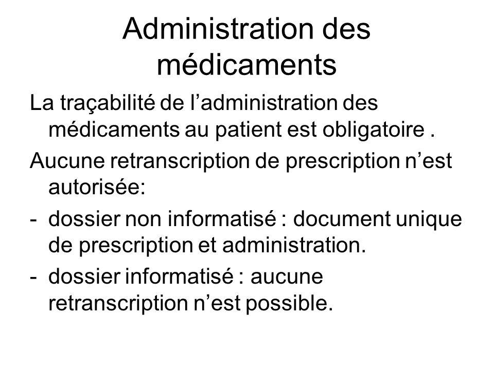 Administration des médicaments La traçabilité de ladministration des médicaments au patient est obligatoire. Aucune retranscription de prescription ne