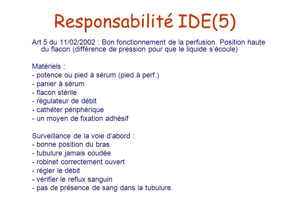 Responsabilité IDE(5) Art 5 du 11/02/2002 : Bon fonctionnement de la perfusion. Position haute du flacon (différence de pression pour que le liquide s