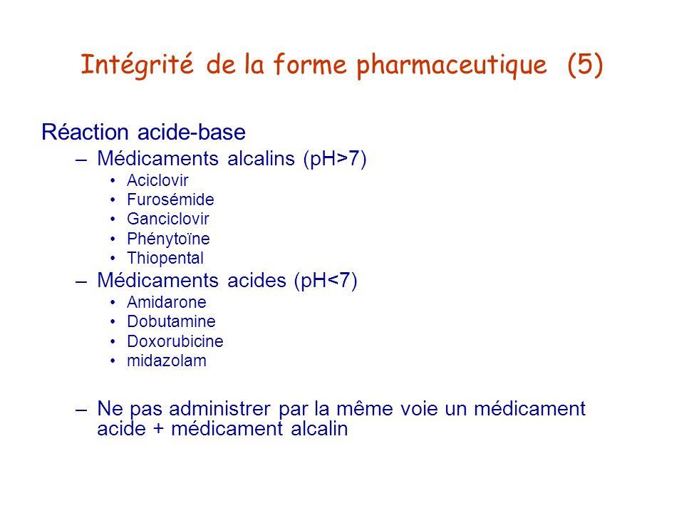Intégrité de la forme pharmaceutique (5) Réaction acide-base –Médicaments alcalins (pH>7) Aciclovir Furosémide Ganciclovir Phénytoïne Thiopental –Médi