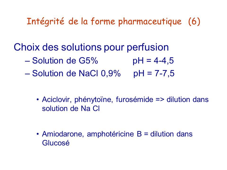 Intégrité de la forme pharmaceutique (6) Choix des solutions pour perfusion –Solution de G5% pH = 4-4,5 –Solution de NaCl 0,9% pH = 7-7,5 Aciclovir, p