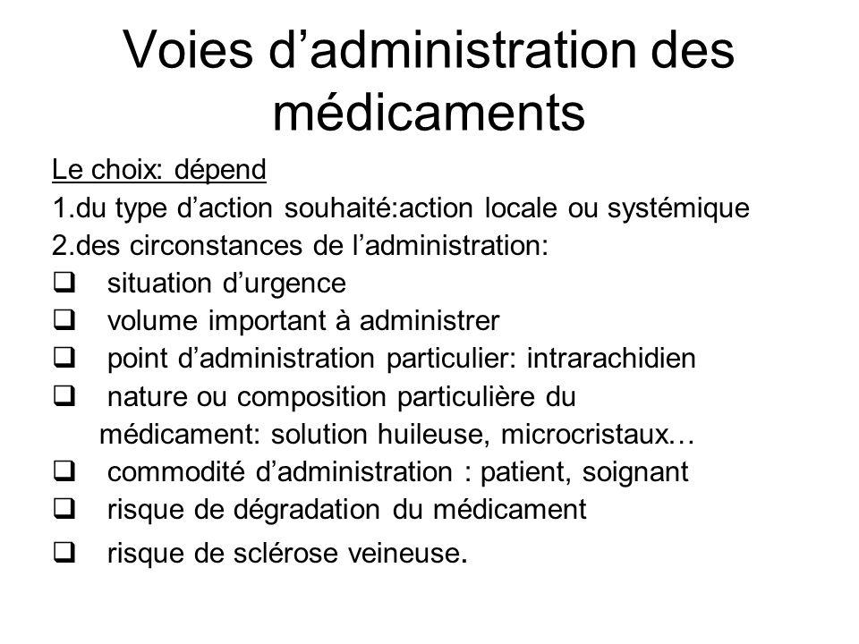 Voies dadministration des médicaments Le choix: dépend 1.du type daction souhaité:action locale ou systémique 2.des circonstances de ladministration: