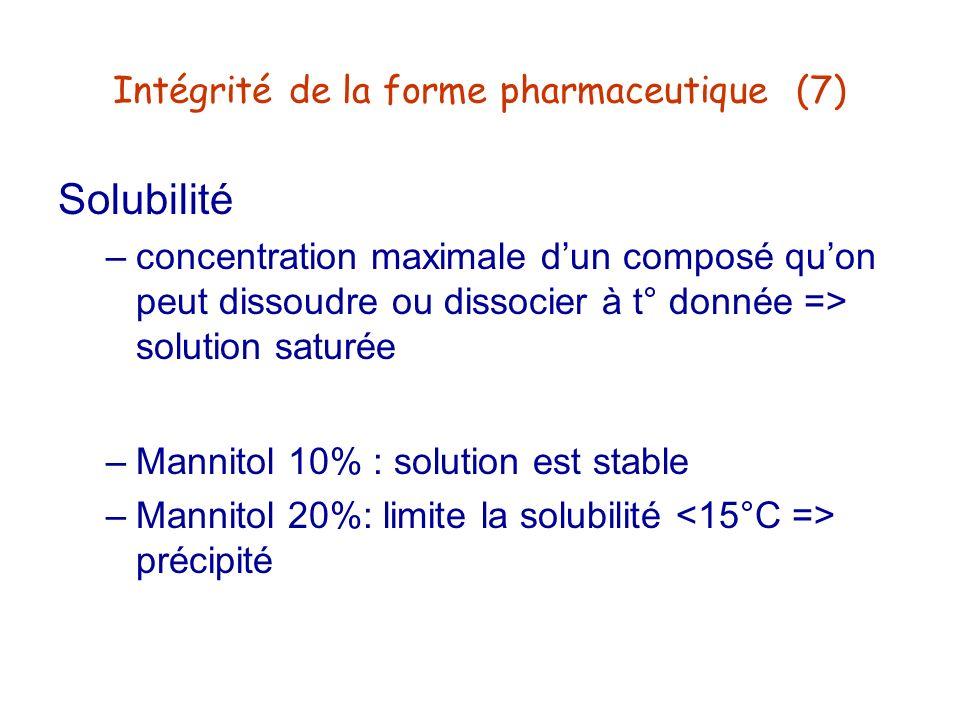 Intégrité de la forme pharmaceutique (7) Solubilité –concentration maximale dun composé quon peut dissoudre ou dissocier à t° donnée => solution satur