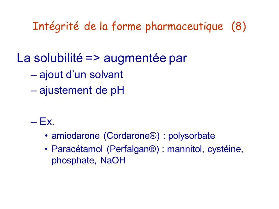 Intégrité de la forme pharmaceutique (8) La solubilité => augmentée par –ajout dun solvant –ajustement de pH –Ex. amiodarone (Cordarone®) : polysorbat