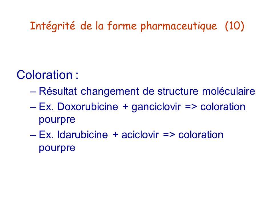 Intégrité de la forme pharmaceutique (10) Coloration : –Résultat changement de structure moléculaire –Ex. Doxorubicine + ganciclovir => coloration pou