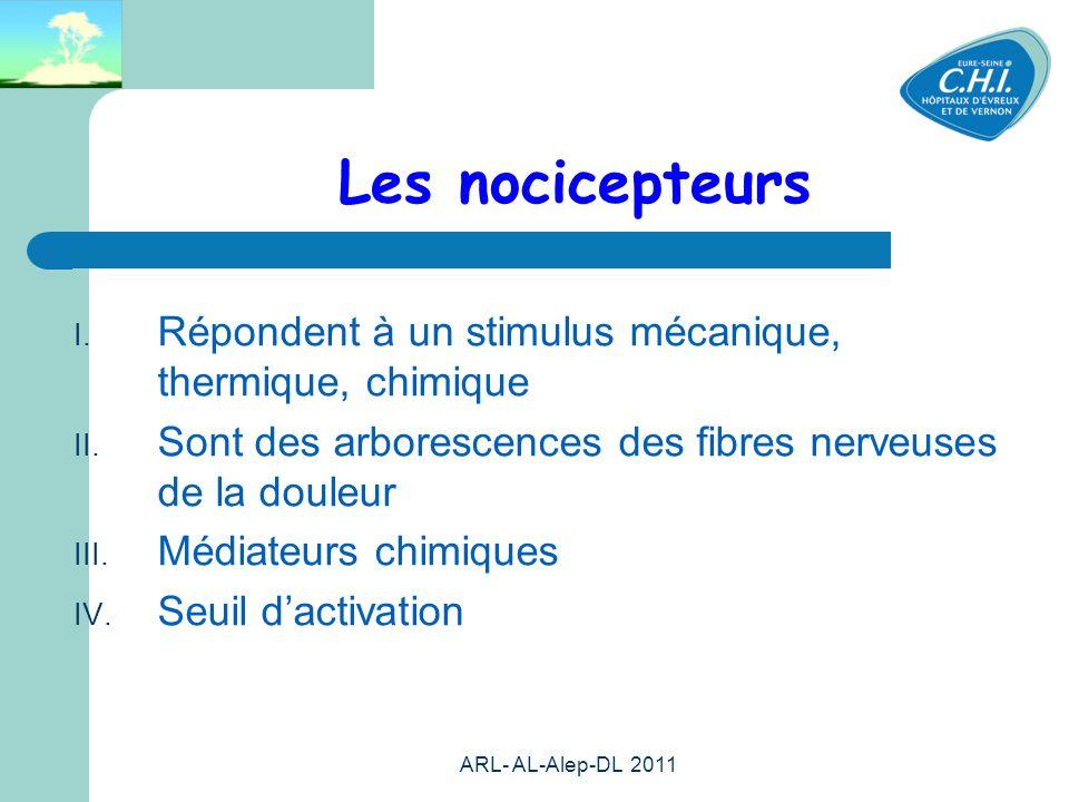 ARL- AL-Alep-DL 2011 13 Les nocicepteurs Répondent à un stimulus mécanique, thermique, chimique Sont des arborescences des fibres nerveuses de la doul