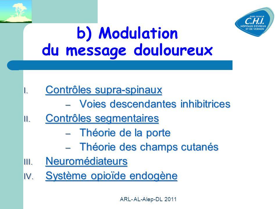 ARL- AL-Alep-DL 2011 15 b) Modulation du message douloureux Contrôles supra-spinaux Contrôles supra-spinaux – Voies descendantes inhibitrices Contrôle