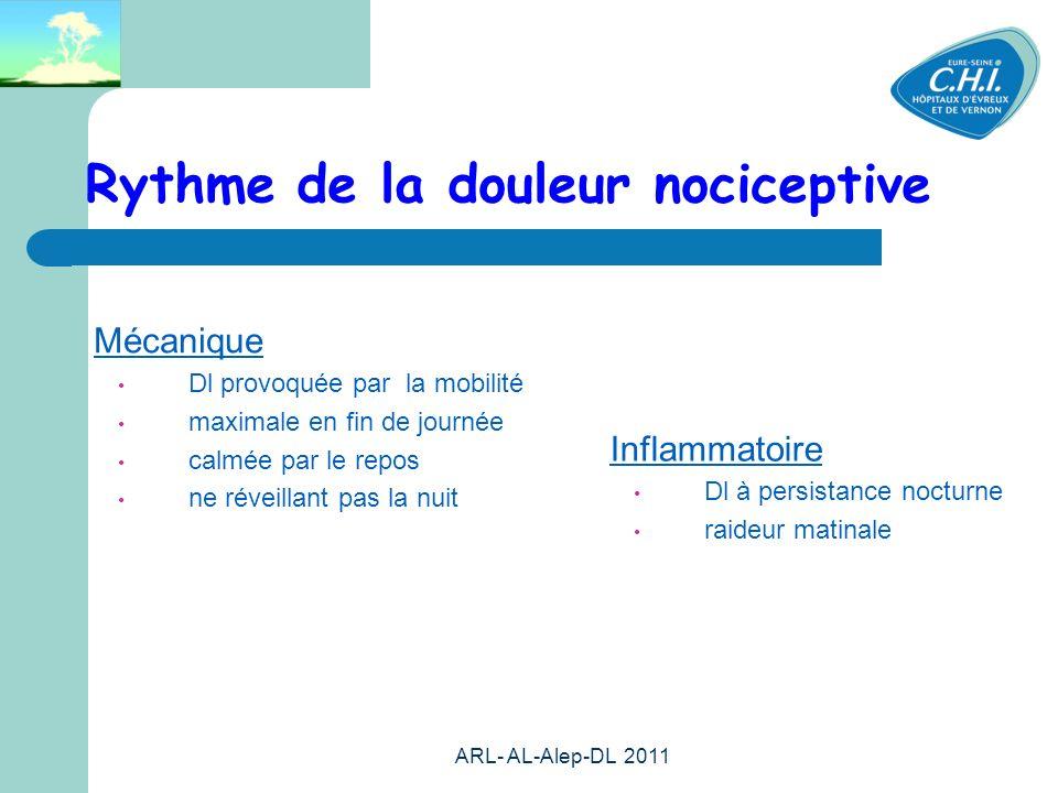 ARL- AL-Alep-DL 2011 19 Rythme de la douleur nociceptive Mécanique Dl provoquée par la mobilité maximale en fin de journée calmée par le repos ne réveillant pas la nuit Inflammatoire Dl à persistance nocturne raideur matinale