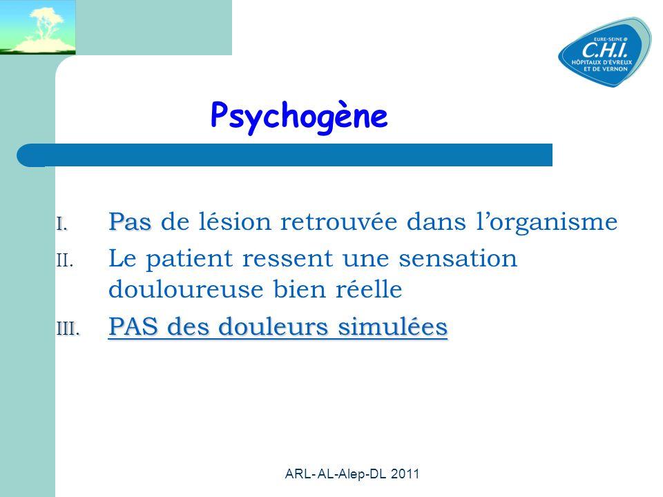 ARL- AL-Alep-DL 2011 23 Psychogène I. Pas I. Pas de lésion retrouvée dans lorganisme II. Le patient ressent une sensation douloureuse bien réelle III.
