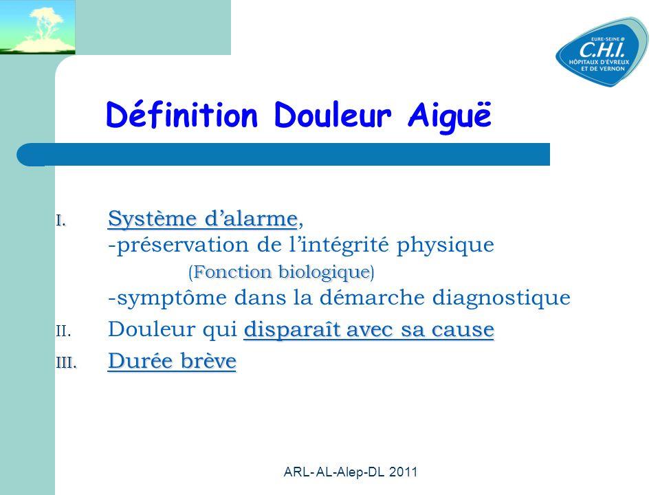 ARL- AL-Alep-DL 2011 25 Définition Douleur Aiguë I. Système dalarme Fonction biologique I. Système dalarme, -préservation de lintégrité physique (Fonc