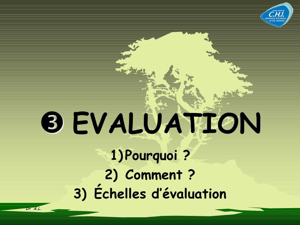 EVALUATION 1)Pourquoi ? 2) Comment ? 3) Échelles dévaluation Dr A.L.