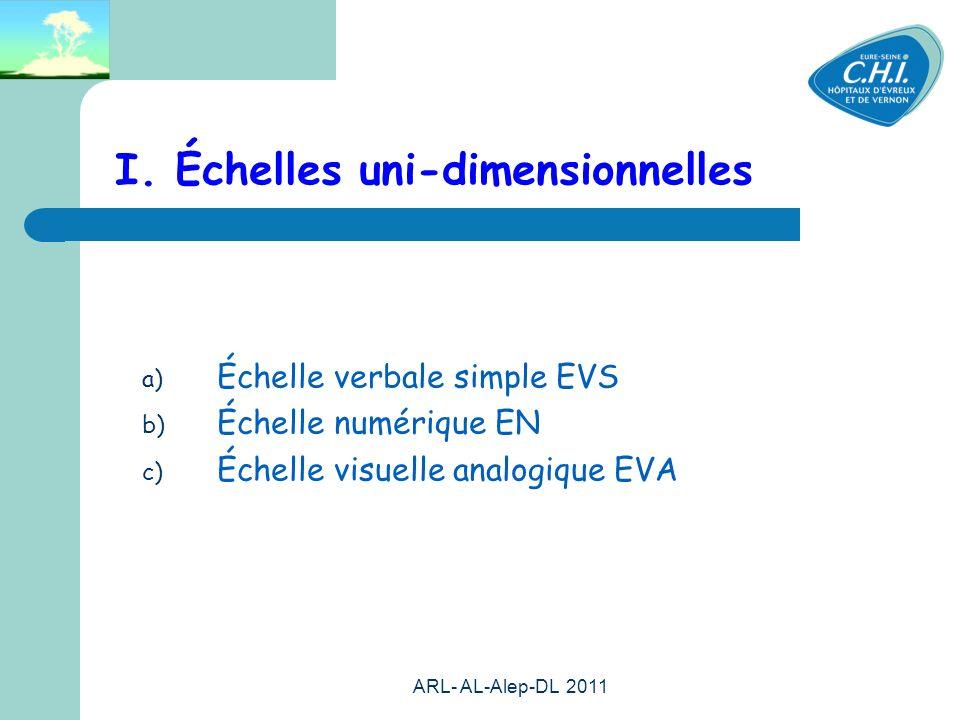 ARL- AL-Alep-DL 2011 41 I. Échelles uni-dimensionnelles a) Échelle verbale simple EVS b) Échelle numérique EN c) Échelle visuelle analogique EVA