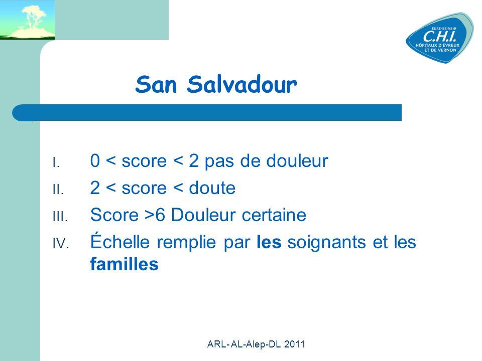 ARL- AL-Alep-DL 2011 58 San Salvadour 0 < score < 2 pas de douleur 2 < score < doute Score >6 Douleur certaine Échelle remplie par les soignants et les familles