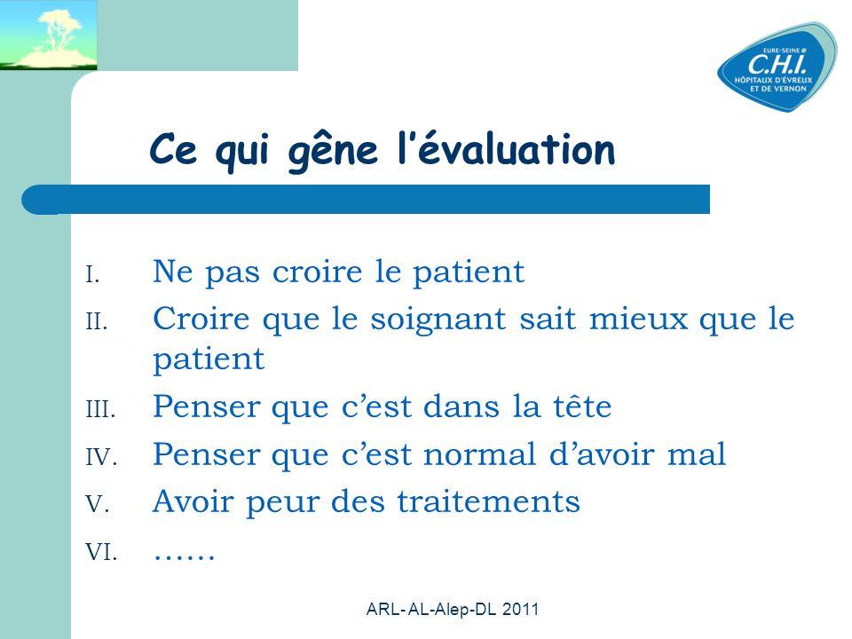 ARL- AL-Alep-DL 2011 63 Ce qui gêne lévaluation I. Ne pas croire le patient II. Croire que le soignant sait mieux que le patient III. Penser que cest
