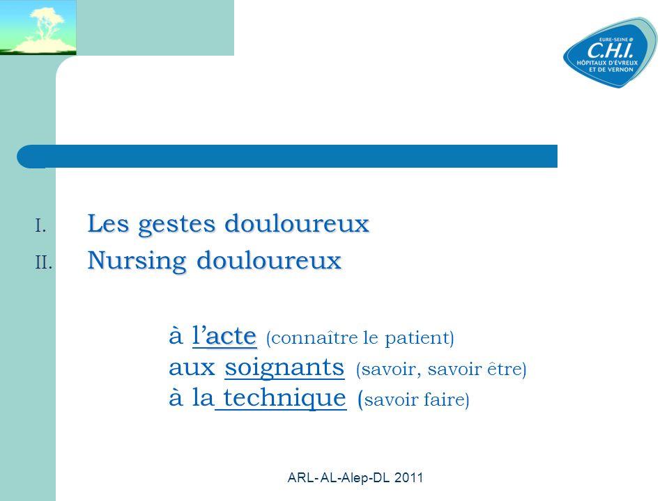 ARL- AL-Alep-DL 2011 66 I. Les gestes douloureux II. Nursing douloureux acte à lacte (connaître le patient) aux soignants (savoir, savoir être) à la t