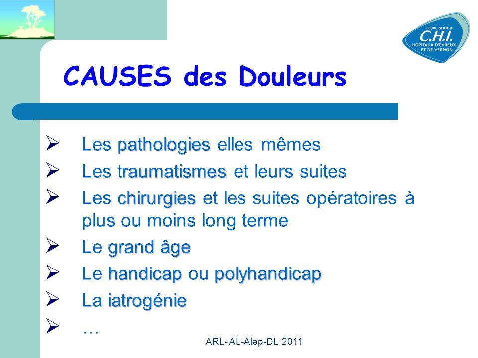 ARL- AL-Alep-DL 2011 7 CAUSES des Douleurs pathologies Les pathologies elles mêmes raumatismes Les traumatismes et leurs suites chirurgies Les chirurg