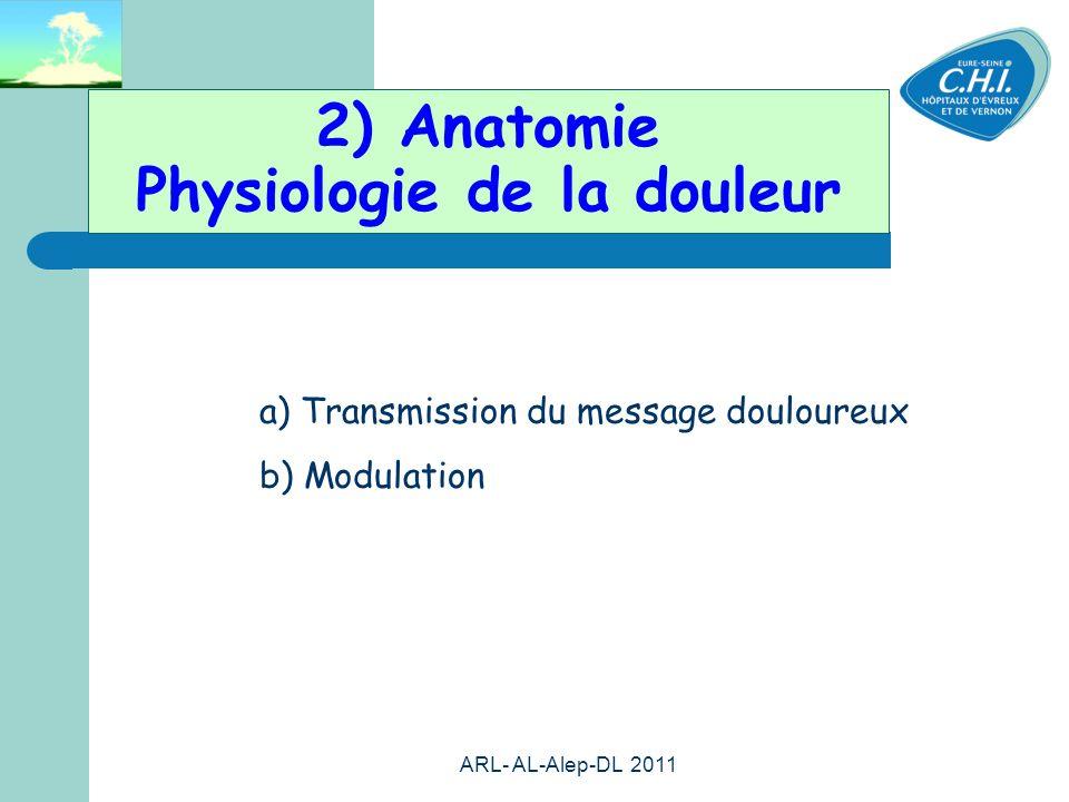 ARL- AL-Alep-DL 2011 9 2) Anatomie Physiologie de la douleur a) Transmission du message douloureux b) Modulation