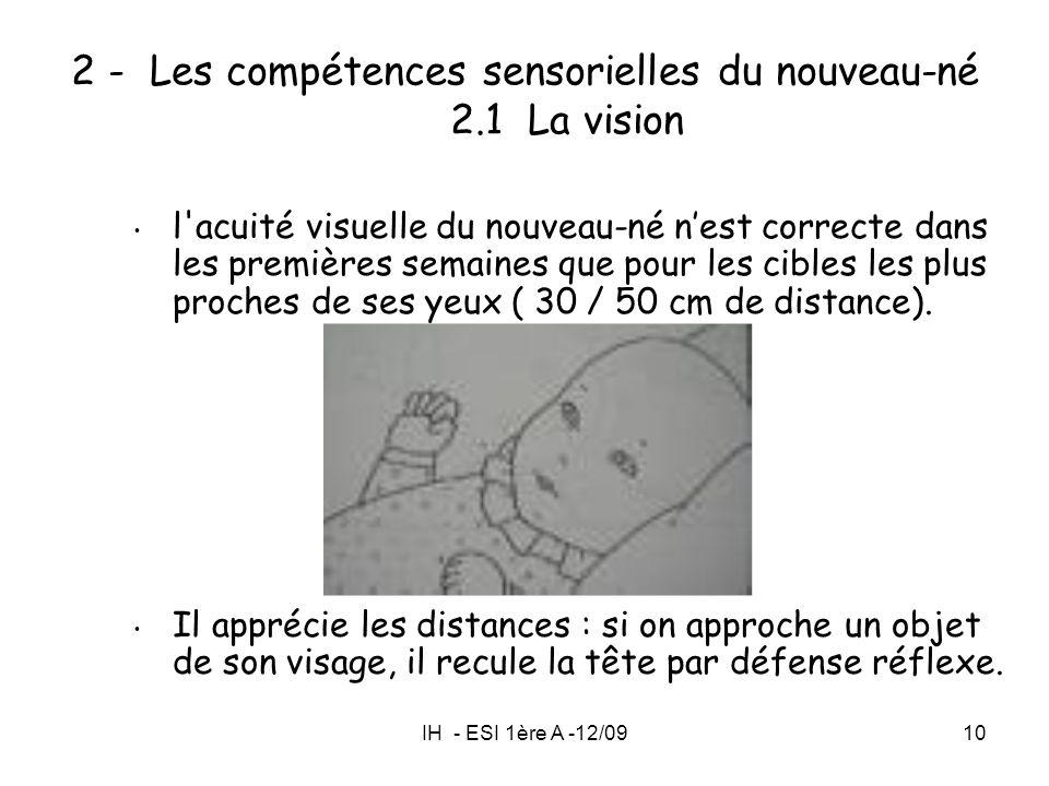 IH - ESI 1ère A -12/0910 2 - Les compétences sensorielles du nouveau-né 2.1 La vision l'acuité visuelle du nouveau-né nest correcte dans les premières